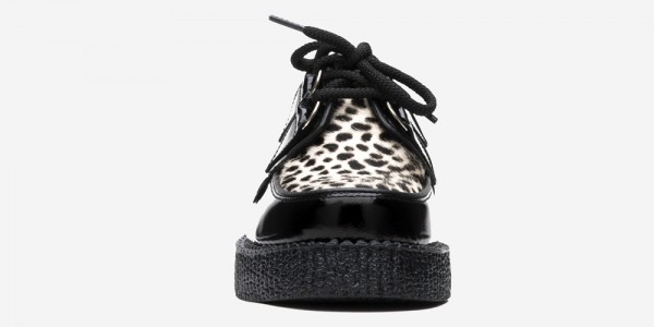 Underground Original Wulfrun Creeper black patent leather and leopard print shoe for men and women