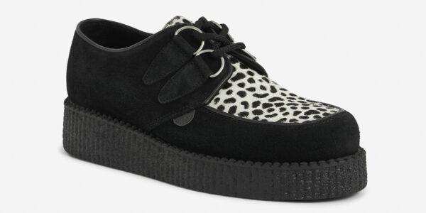 Underground Original Wulfrun Creeper black suede and leopard print pony hair shoe for men and women