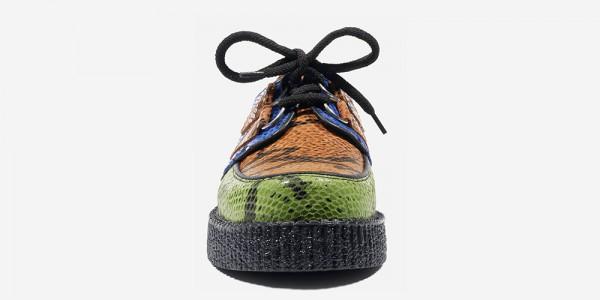 Underground Original Wulfrun Creeper green, orange and blue snake print embossed leather shoe for men and women