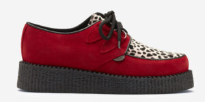 Underground Original Wulfrun Creeper red suede and leopard print pony hair shoe for men and women