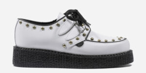 Underground Original Wulfrun Creeper white leather and studs shoe for men and women