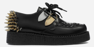 UNDERGROUND ORIGINAL WULFRUN CREEPER – BLACK LEATHER, NICKEL & GOLD SPIKES – SHOES FOR MEN AND WOMEN