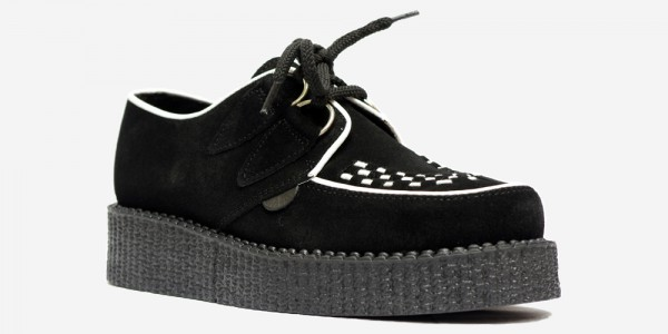 UNDERGROUND ORIGINAL WULFRUN CREEPER – BLACK SUEDE & WHITE PIPING – SHOES FOR MEN AND WOMEN