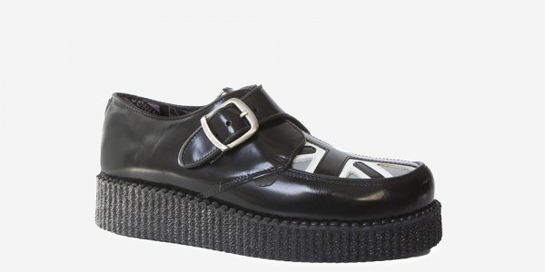 UNDERGROUND KING TUT CREEPER BUCKLE SHOE – BLACK LEATHER WITH BLACK & WHITE UNION JACK – SHOES FOR MEN AND WOMEN