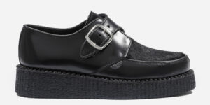 UNDERGROUND KING TUT CREEPER BUCKLE SHOE – BLACK LEATHER & BLACK PONY HAIR – SHOES FOR MEN AND WOMEN