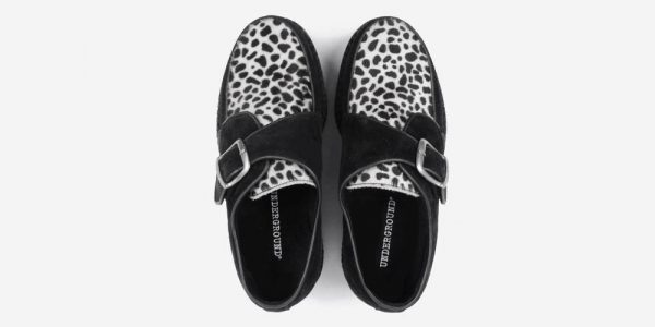 UNDERGROUND KING TUT CREEPER BUCKLE SHOE – BLACK SUEDE & LEOPARD PRINT PONY HAIR – SHOES FOR MEN AND WOMEN