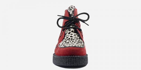 UNDERGROUND ORIGINAL WULFRUN CREEPER – RED SUEDE & LEOPARD PRINT – SHOES FOR MEN AND WOMEN