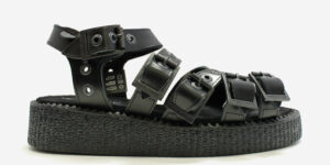 UNDERGROUND CREEPER STRAP SANDAL – BLACK LEATHER – SHOES FOR MEN AND WOMEN