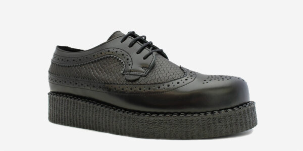 UNDERGROUND MACBETH BROGUE – BLACK LEATHER & SNAKE EMBOSSED- SHOES FOR MEN AND WOMEN