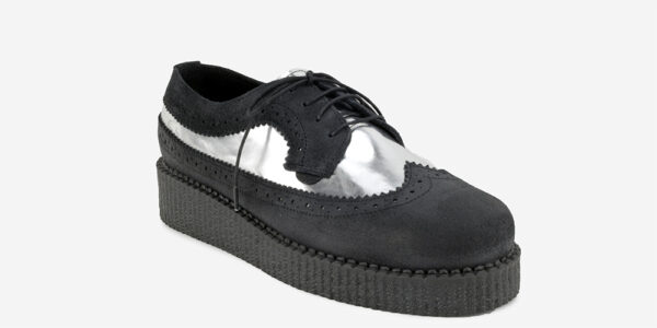 UINDERGROUND MACBETH BROGUE – BLACK & SILVER LEATHER – SHOES FOR MEN AND WOMEN