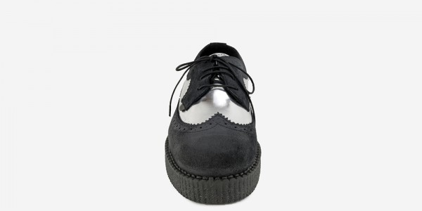 UNDERGROUND MACBETH BROGUE – BLACK & SILVER LEATHER – SHOES FOR MEN AND WOMEN