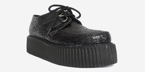 Underground Original Wulfrun Creeper Black glitter leather fabric shoe for men and women