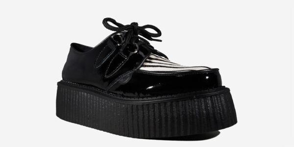 Underground Original Wulfrun Creeper black patent leather and black and white zebra pony hair shoe for men and women