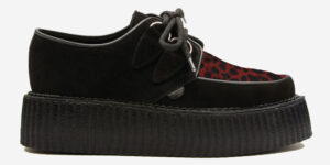 Underground Original Wulfrun Creeper black suede leather with red leopard print pony hair shoe for men and women