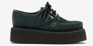 Underground Original Wulfrun Creeper forest green velvet shoe for men and women