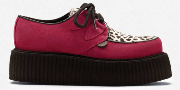Underground Original Wulfrun Creeper fuchsia suede leather with leopard print pony hair shoe for men and women