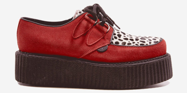 Underground Original Wulfrun Creeper red suede leather with leopard print pony hair shoe for men and women
