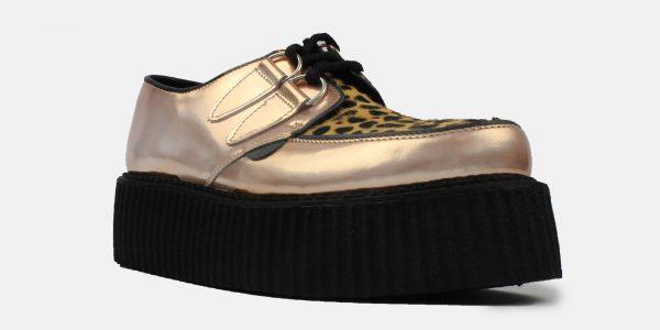 Underground Original Wulfrun Creeper rose gold metallic leather and cappuccino leopard shoe for men and women