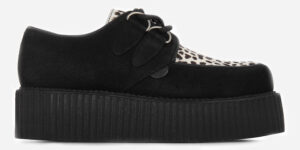 Underground Original Wulfrun Creeper black suede leather with leopard print pony hair shoe for men and women