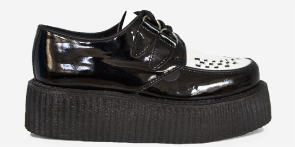 Underground Original Wulfrun Creeper black and white patent leather shoe for men and women