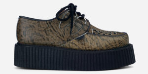 Underground Original Wulfrun Creeper black and brown snake embossed leather shoe for men and women