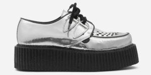 Underground Original Wulfrun Creeper silver mirror metallic leather shoe for men and women