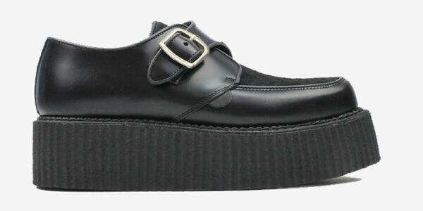Underground Original King Tuts Creeper Black leather with black pony hair buckle shoe for men and women