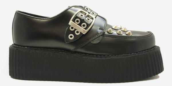 Underground Original Monk Creeper black leather buckle shoe with studs for men and women
