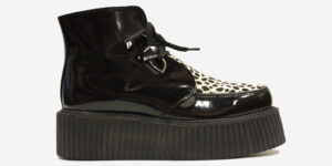 Underground Original Wulfrun Creeper black patent leather and leopard print pony hair boot for men and women