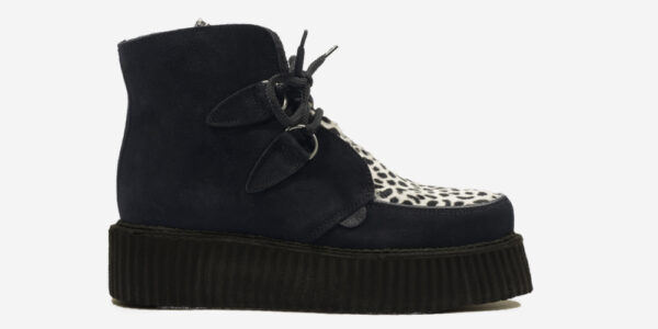 Underground Original Wulfrun Creeper black suede leather and leopard print pony hair boot for men and women