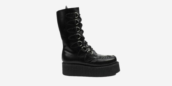 Underground Original Wulfrun Creeper black leather calf length boot for men and women