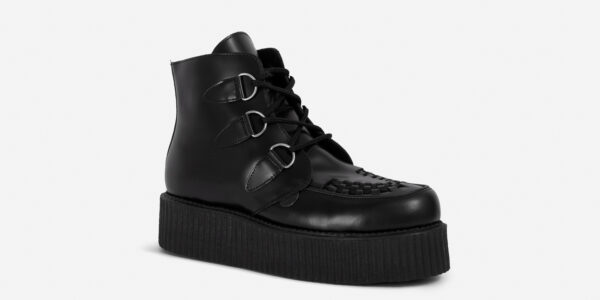Underground Original Wulfrun Creeper black leather d-ring boots for men and women