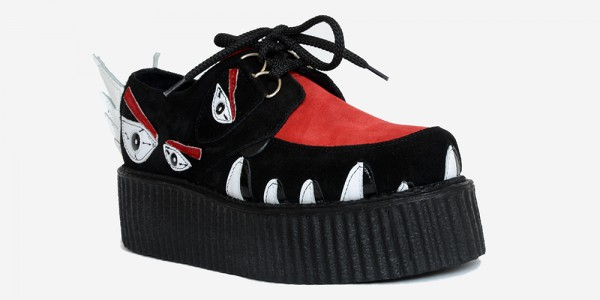 Underground Original Snapper Wulfrun Creeper black and red suede shoe for men and women