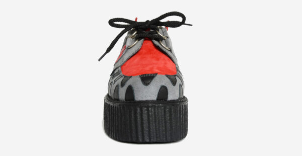 Underground Original Snapper Wulfrun Creeper grey and red suede shoe for men and women