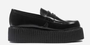 Original Underground creeper loafer black hi-shine leather shoe for Men and Women