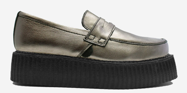 Original Underground creeper loafer pewter metallic leather shoe for Men and Women