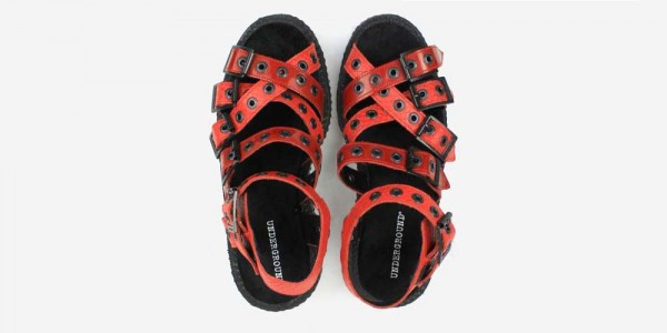 Underground Original Creeper red snake embossed leather and patent leather sandal with straps for men and women
