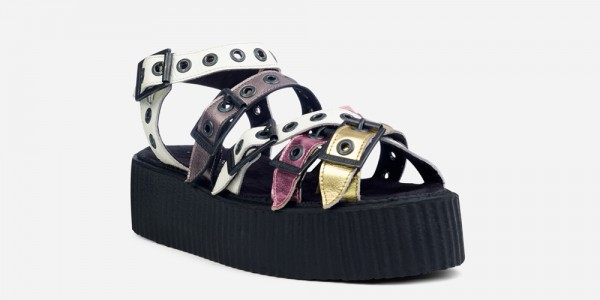 Underground Original Creeper white snake embossed leather and metallic leather sandal with straps for men and women