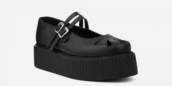 Underground England Mary Jane black grain leather shoe for men and women