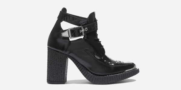 Underground England Marquee Boot black leather and patent crocodile embossed heeled shoe with buckle for men and women