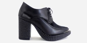 Underground England Marquee blitz Boot black grain leather and black pony hair heeled shoe with buckle for men and women