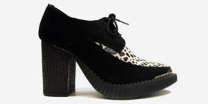 Underground England Marquee blitz Boot black suede leather and leopard print heeled shoe with buckle for men and women