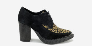 Underground England Marquee blitz Boot black suede leather and natural leopard print heeled shoe with buckle for men and women
