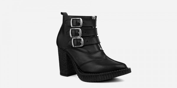 Underground England Marquee blitz Boot black grain leather shoe with 3 buckles for men and women