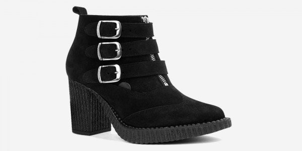 Underground England Marquee blitz Boot black suede leather shoe with 3 buckles for men and women
