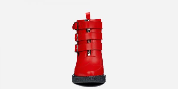 Underground England Marquee blitz Boot red grain leather shoe with 3 buckles for men and women
