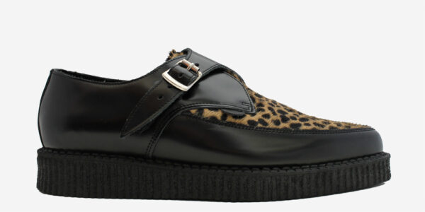 Underground Original Apollo Creeper Black leather and natural leopard print pony buckle shoe for men and women