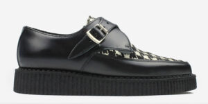 Underground Original Apollo Creeper Black leather and houndstooth print pony buckle shoe for men and women