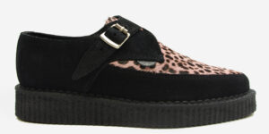Underground Original Apollo Creeper black suede and baby pink leopard buckle shoe for men and women