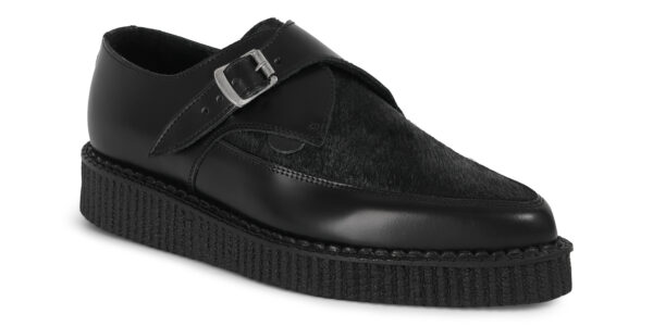 Underground Original Apollo Creeper Black leather and black pony buckle shoe for men and women